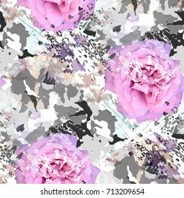 Seamless pattern camouflage design with roses. Floral background with camo elements and watercolor effect. Textile print for bed linen, jacket, package design, fabric and fashion concepts.