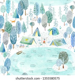 Seamless pattern of a camping in the woods and lake.Tent, trees, bonfire, plants,boat and floral.Landscape tourism.Watercolor hand drawn illustration.White background.