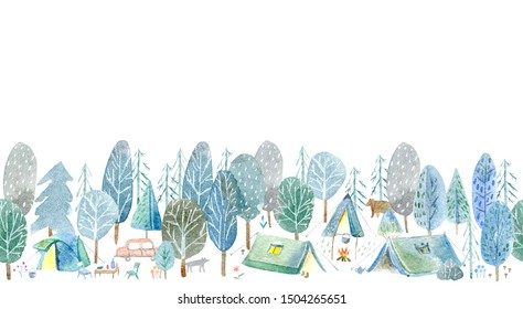 Seamless pattern of a camping in the woods.Tent, trees, bonfire, bear, wolf,plants and floral.Landscape tourism.Watercolor hand drawn illustration.White background.