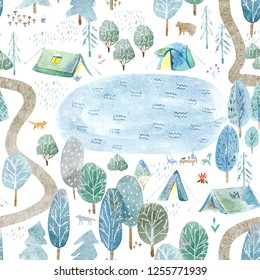Seamless pattern of a camping,lake,road,fox,wolf,bear in the woods.Tent, trees, bonfire, plants and floral.Landscape tourism.Watercolor hand drawn illustration.White background.
