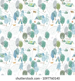 Seamless pattern of a camping,road,fox,wolf,bear in the woods.Tent, trees, bonfire, plants and floral.Landscape tourism.Watercolor hand drawn illustration.White background.
