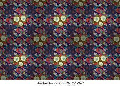 Seamless pattern can be used as greeting card, invitation card for wedding, birthday and other holidays and summer background. Rose flowers in violet, brown and blue colors, abstract, stylized, cute.