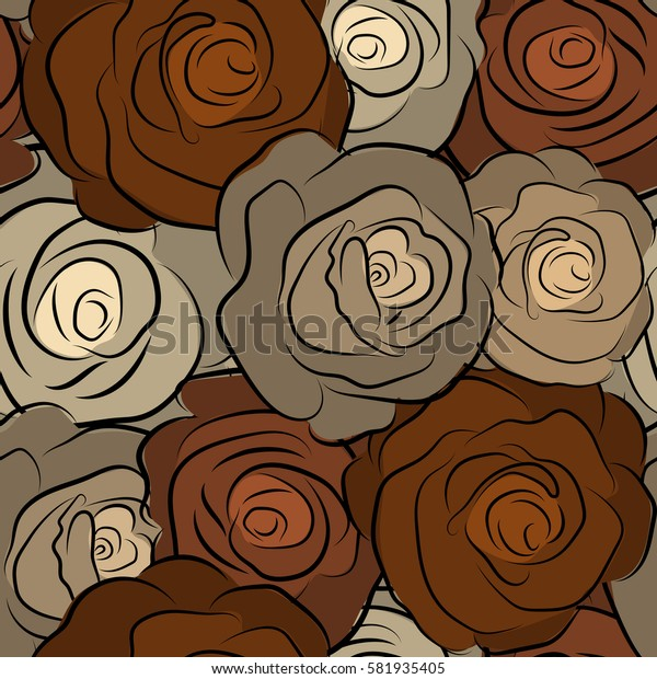 Seamless pattern can be used as greeting card, invitation card for wedding, birthday and other holidays and summer background. Rose flowers in beige and brown colors, abstract, stylized, watercolor.