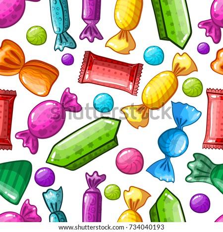 seamless pattern candy cartoon candy sweet stock illustration