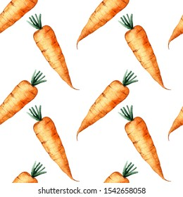 Seamless pattern carrot, watercolor painting, bright design.