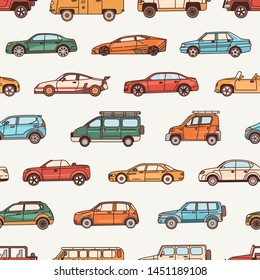 Seamless pattern with cars of various body configuration styles - cabriolet, sedan, pickup, hatchback. Backdrop with modern automobiles of different types. illustration in line art style