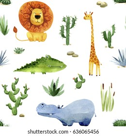 Seamless pattern cartoon african animals and plants. Hand drawn watercolor illustration on white background.