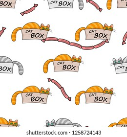 Seamless pattern.Red cat with green eyes peeking out of cardboard box.pet with mustache,Sausages.Cute animal,white background.illustration for children.Print for fabric,textile,wrapping.Raster copy.