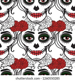 Seamless pattern. Catrina woman with make up of sugar skull. Dia de los muertos. Mexican Day of the dead.  illustration hand drawing isolated on white background