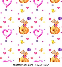 Seamless pattern cats in love, pink heart, birdies. Watercolor hand painted illustration isolated on white background