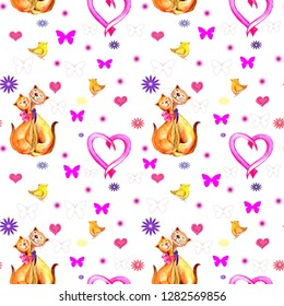 Seamless pattern cats in love, pink heart, birdies,butterflies. Watercolor hand painted illustration isolated on white background.