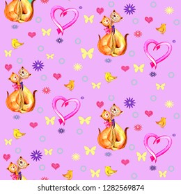 Seamless pattern cats in love, pink heart, birdies,butterflies. Watercolor hand painted illustration on purple background.