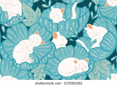 Seamless pattern with cats and turquoise teal flowers