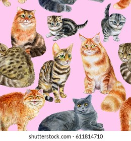 Seamless pattern with cats. Watercolor hand drawn illustration