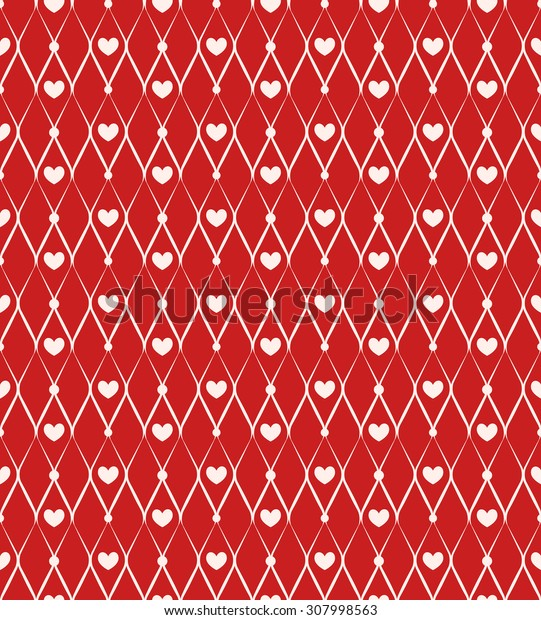 Seamless pattern with chain and hearts on red background. Raster version