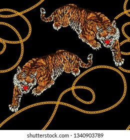 Seamless pattern with chain and tiger. Isolated on black background. Exotic jungle wallpaper. Perfect for fabric desidn, wallpapers, surface textures