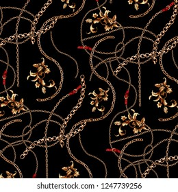 Seamless pattern with chains, baroque and belt for fabric design.