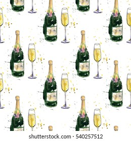 seamless pattern with champagne bottle and glass drawing by watercolor and ink artistic background