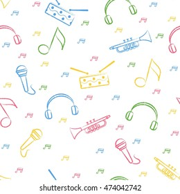 Seamless pattern children's color crayon drawings on white background. Hand-drawn style. Seamless wallpaper with the image of drum, microphone, pipe, headphones and note