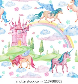 Seamless pattern for children's rooms, Wallpaper, textiles. Watercolor illustration. Magic Pegasus, unicorns