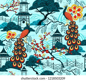 A seamless pattern of Chinoiserie
