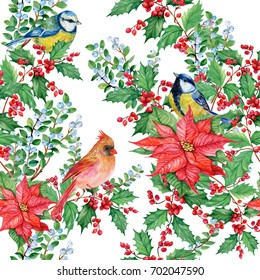 seamless pattern Christmas background with mistletoe ,poinsettias ,birds, red cardinal,titmouse watercolor
