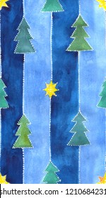 seamless pattern with christmas design, watercolor painting, nice for wrapping gifts
