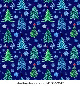 Seamless pattern of Christmas firs and snowflakes on a dark blue background, watercolor drawing.