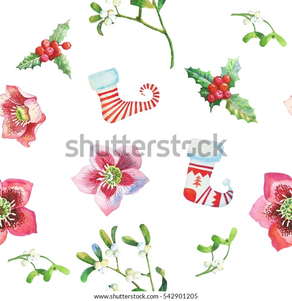Seamless Pattern with Christmas  Sock, Holly and  Hellebore. Hand drawn watercolor illustration