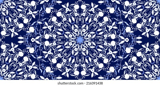 Seamless pattern of circular ornaments. Dark blue background in the style of Chinese painting on porcelain.