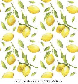 Seamless pattern with citrus fruit lemons on a branch with green leaves isolated on white background. For design, print, textile and more