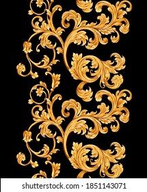 Seamless pattern with classic golden baroque leaves. Victorian monogram floral ornament
