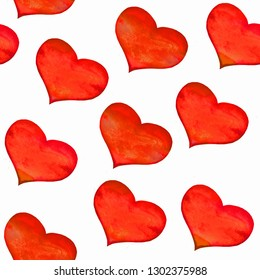 Seamless pattern with classical red hearts on white background. Hand drawn on paper with watercolor texture. Love concept of wrapping paper, gift. Repeatable design.