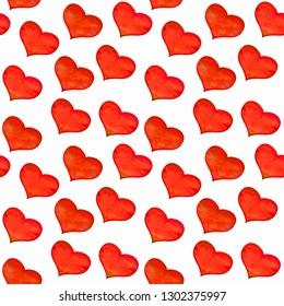 Seamless pattern with classical red hearts on white background. Hand drawn on paper with watercolor texture. Love concept of wrapping paper, gift.