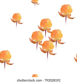 Seamless pattern of cloudberries with watercolor technique