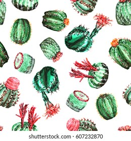 Seamless pattern with colorful cacti with flowers