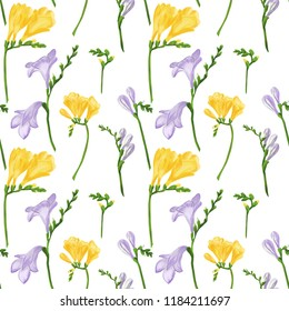 Seamless pattern with colorful freesias and grasses. Fabric wallpaper print texture on white background. Digital illustration