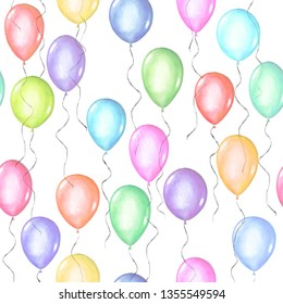 Seamless pattern of colorful rainbow colors watercolor happy holiday glossy helium air flying balloons on white background. Watercolour hand drawn festive birthday anniversary illustration.
