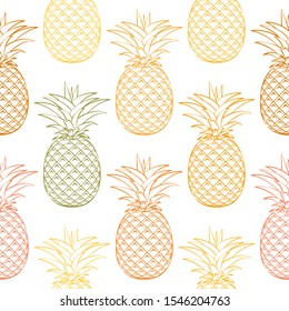 Seamless pattern from colorful ripe pineapple on a white background. Design for textiles, banners, posters. illustration. Outline icon.