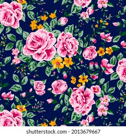 seamless pattern with colorful rose flower design and background