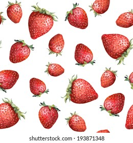 Seamless pattern with colorful strawberry isolated on white background. Aquarelle picture