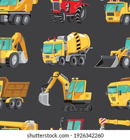 Seamless pattern with colorful  toy Trucks, Cars and Road Signs. Red tractor, Excavator, Digger machine, Building machines, Concrete Mixer.