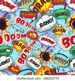 Seamless pattern comic speech bubbles  illustration