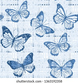 Seamless pattern complex design. Mixed background with abstract butterflies textures  , tartan elements and watercolor effect. Textile print for bed linen, jacket, package design, fabric and fashion