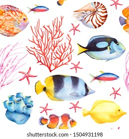 Seamless pattern with coral reef fish and sea sponge. Watercolor background. Tropical ocean wildlife.
