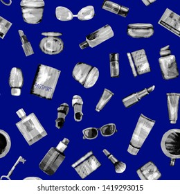 Seamless pattern of cosmetic products from black-white textural paper on a dark blue BG. Coffee, passport, key, glasses, perfume, lipstick, cream, jar, powder, shadows,bottle,brush, tube,concealer