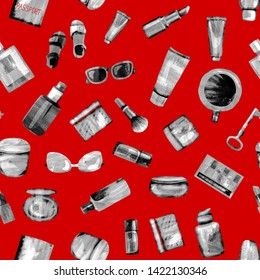 Seamless pattern of cosmetic products from black-white textural paper on a red background. Coffee, passport, key, glasses, perfume, lipstick, cream, jar, powder, shadows,bottle,brush, tube,concealer
