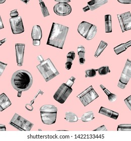 Seamless pattern of cosmetic products from black-white textural paper on a light pink BG. Coffee, passport, key, glasses, perfume, lipstick, cream, jar, powder, shadows,bottle,brush, tube,concealer