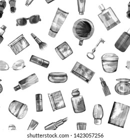 Seamless pattern of cosmetic products from black-white textural paper on a white background. Coffee, passport, key, glasses, perfume, lipstick, cream, jar, powder, shadows,bottle,brush, tube,concealer