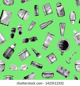 Seamless pattern of cosmetic products from black-white textural paper on a light green BG. Coffee, passport, key, glasses, perfume, lipstick, cream, jar, powder, shadows,bottle,brush, tube,concealer